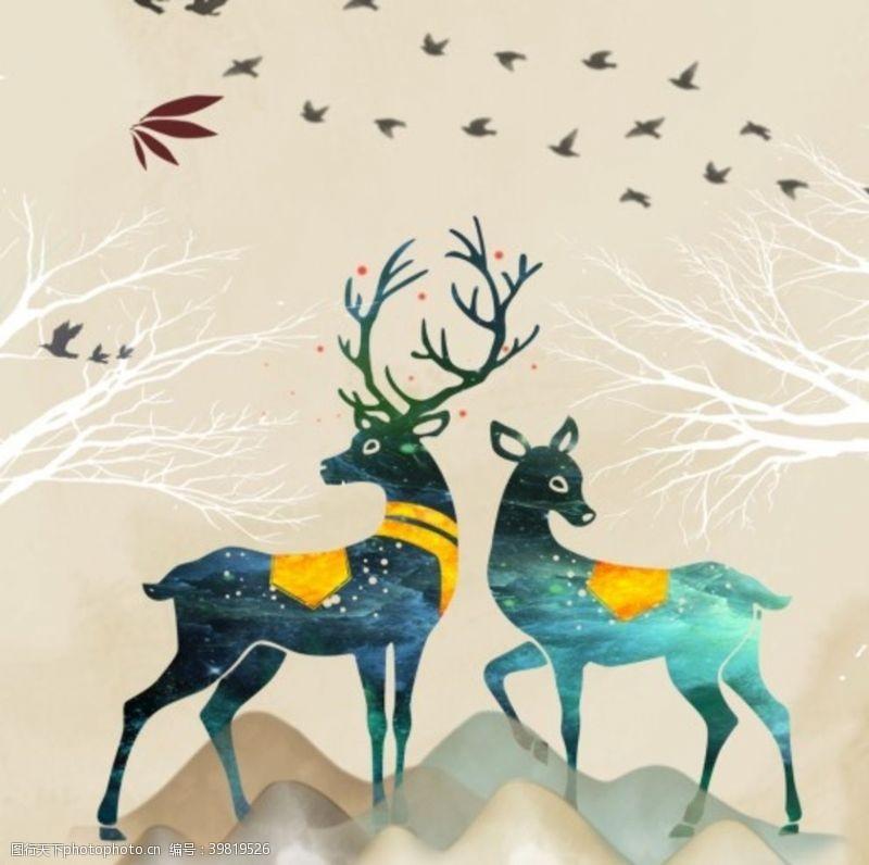 麋鹿画框背景图片