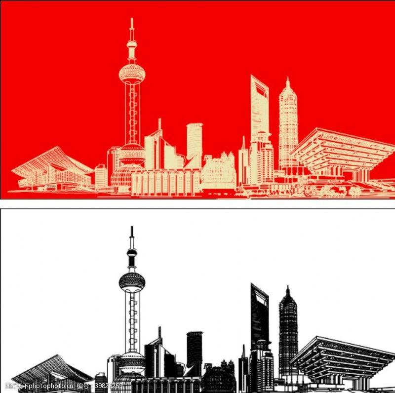城市剪影上海陆家嘴建筑群矢量图图片