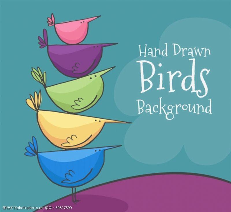 手绘卡通鸟图片