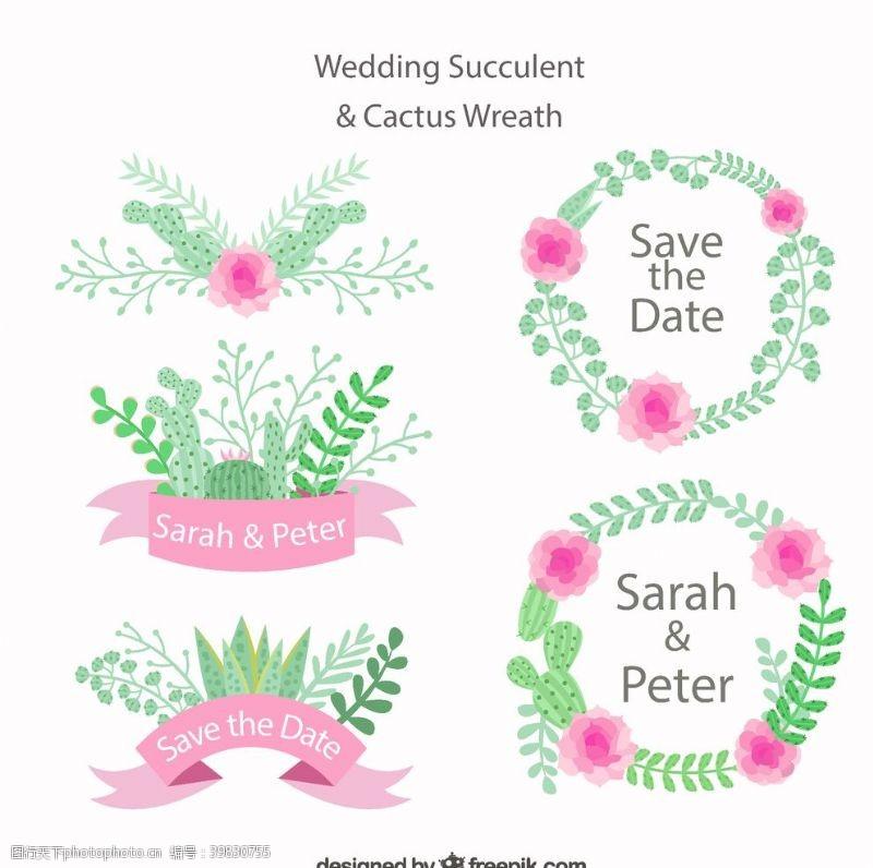 仙人掌婚礼花环与标签图片