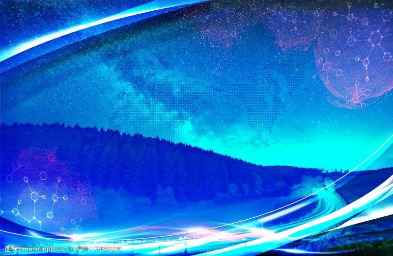 酷蓝色星空山路图片