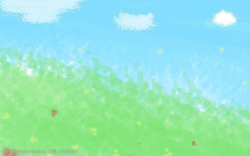 蓝天白云青草地卡通背景图片