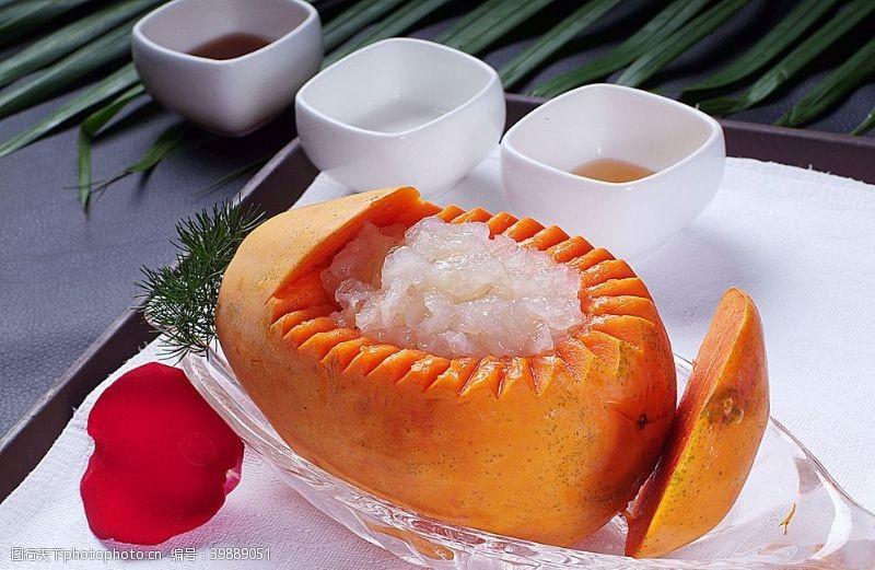 传统美食木瓜炖雪蛤图片
