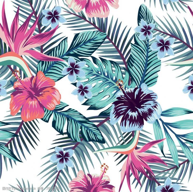 抽象印花热带植物和花图片