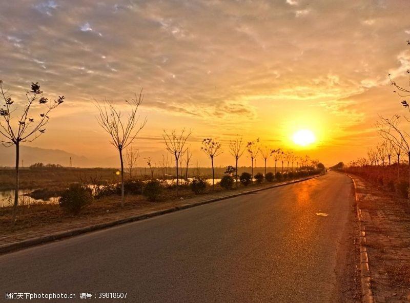 深秋日暮下的道路风景图片