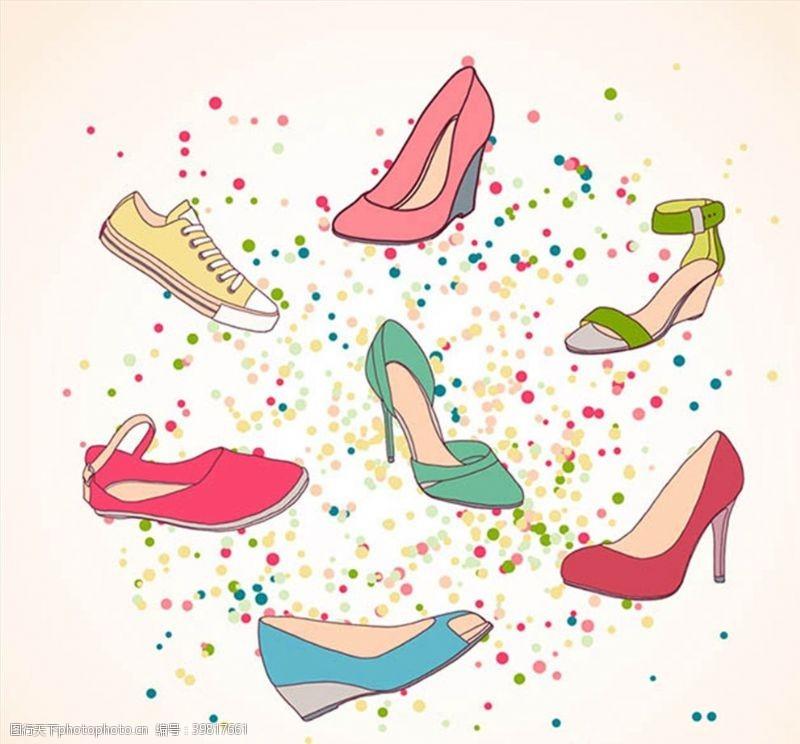高跟鞋手绘彩色女鞋图片