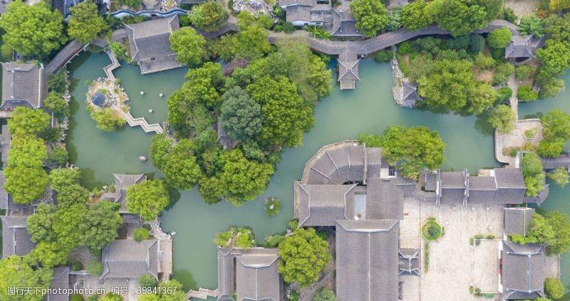 城市绿化苏州园林俯拍图片