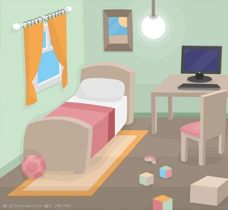 卧室设计矢量图片
