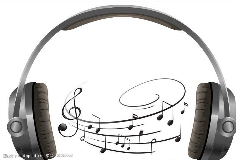 音乐素材音符与耳机图片
