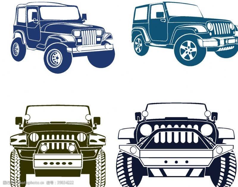 吉普车越野车广告插画图片