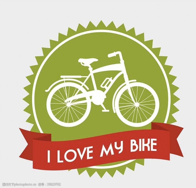 骑车自行车标签矢量图片