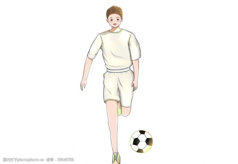 足球少年踢球足球小子元素图片