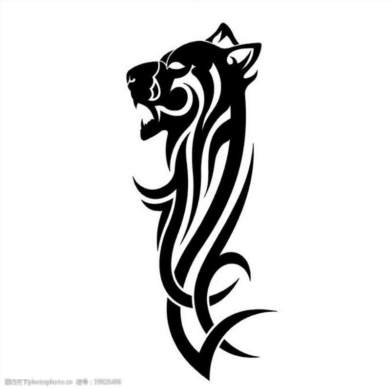 野生动物豹子图腾CDR矢量图图片