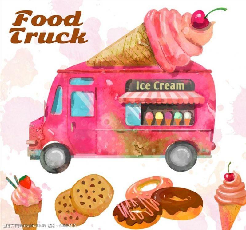 冰淇淋车和甜品图片