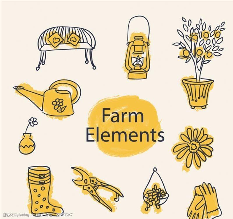 盆栽彩绘花园元素图片
