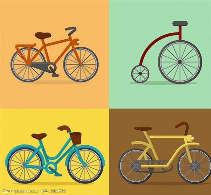 彩色自行车图片