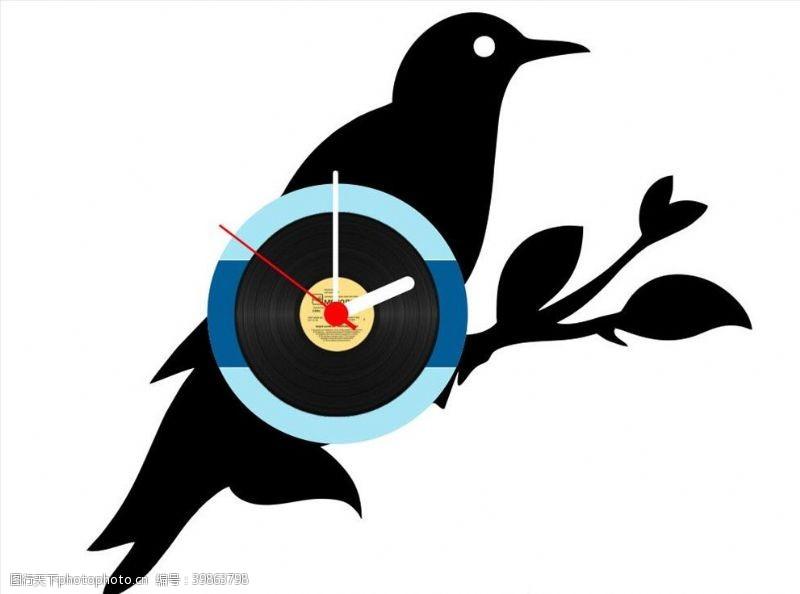 仙人掌创意时钟黑白图片