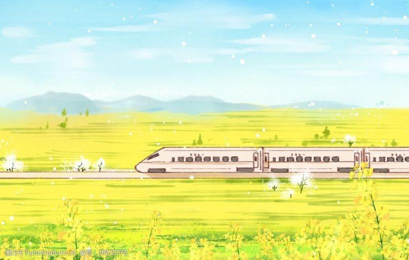 古典风格春天的列车图片