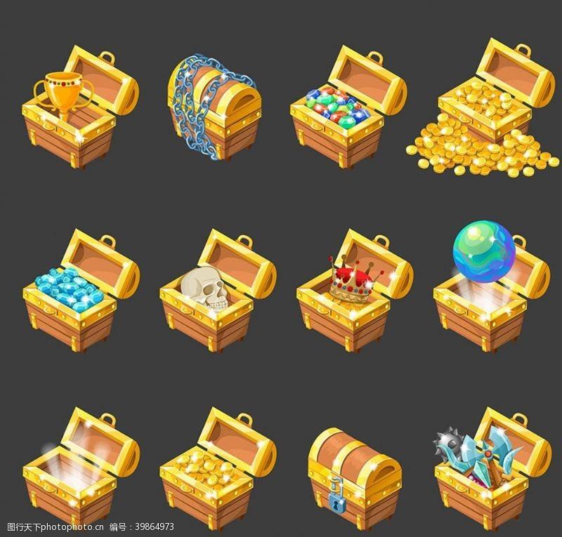 卡通金币箱子矢量图片