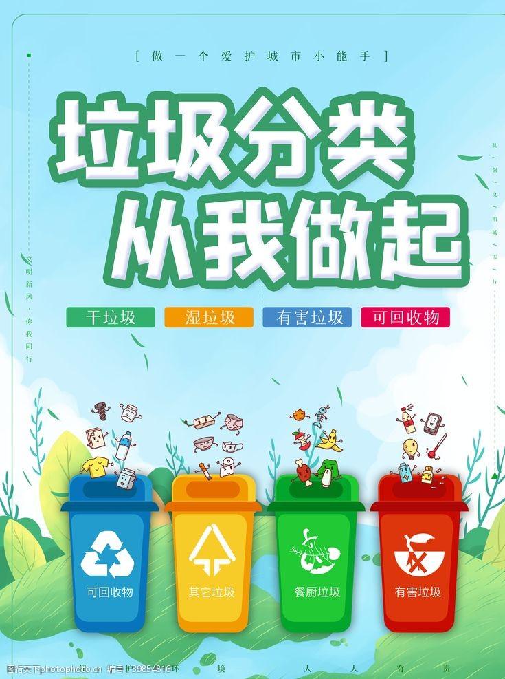 保护环境垃圾分类从我做起图片