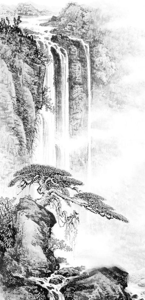 手绘背景山水画图片