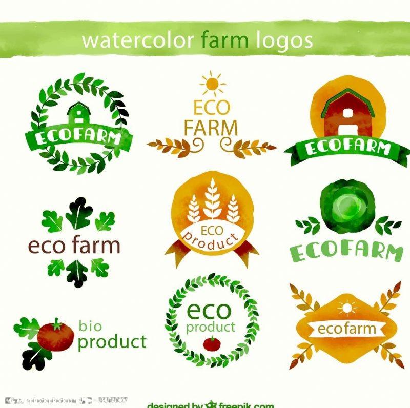 房屋生态农耕标签图片