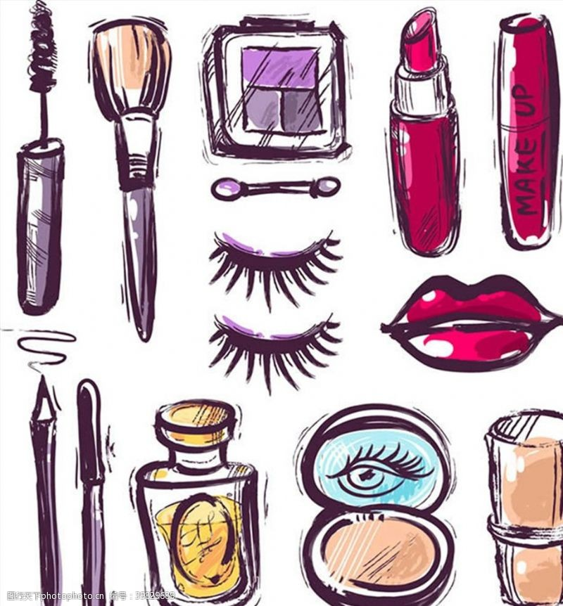 香水手绘化妆品主题图片