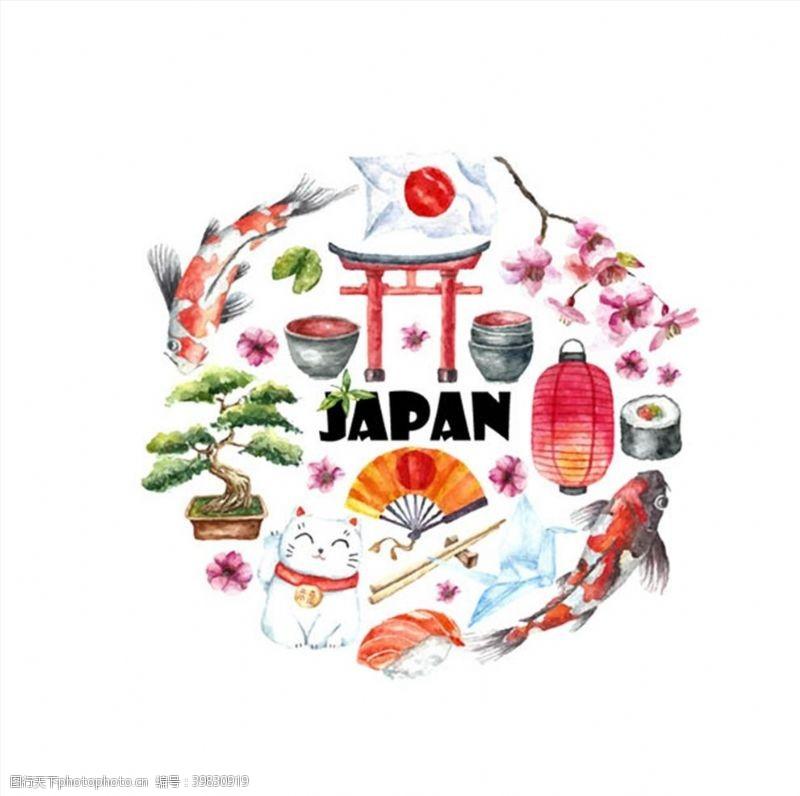 盆栽水彩绘日本元素图片