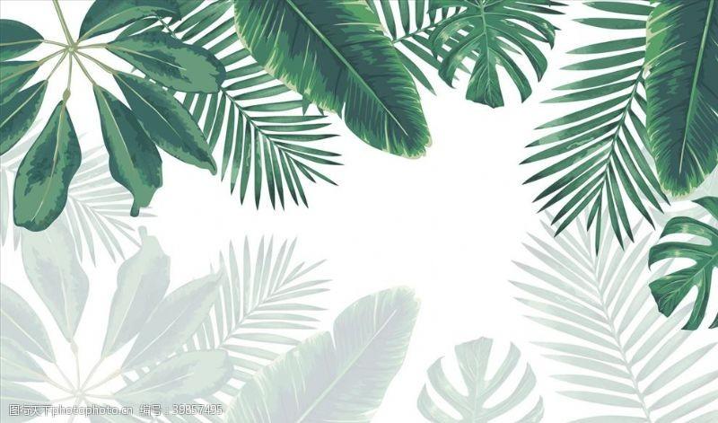 现代背景树叶绿叶芭蕉叶背景墙图片