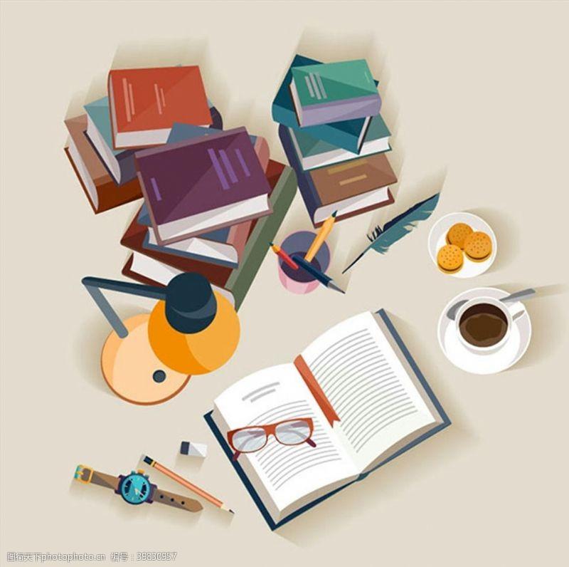 台灯书桌俯视图矢量图片