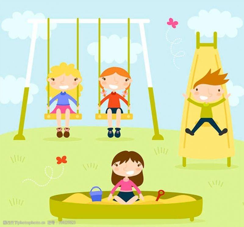 秋千玩耍的儿童图片