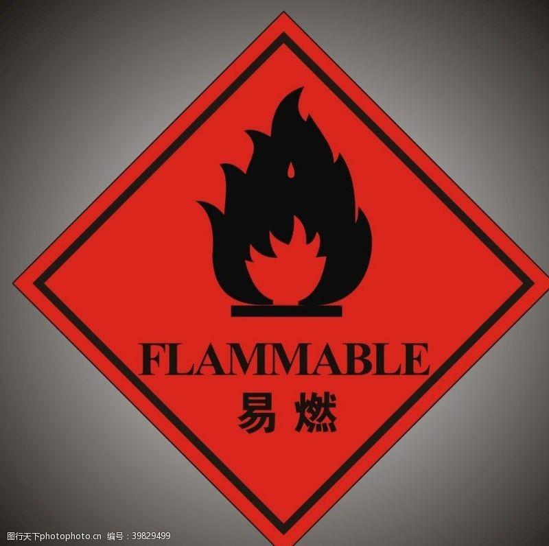 警告危险废物标签易燃图片