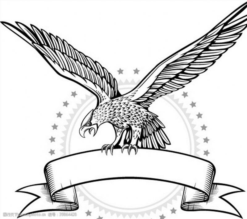 雄鹰线条老鹰徽章图片