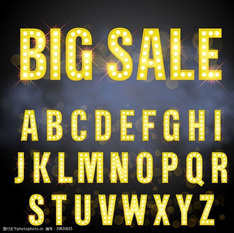 金色字母英文字母矢量图片
