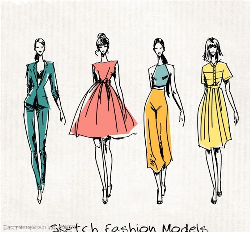 彩绘时尚模特图片