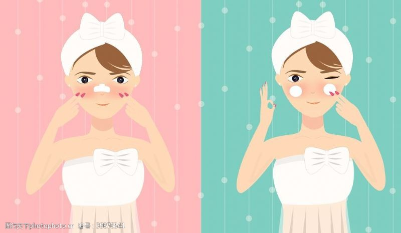 妇女节彩妆美女插画图片