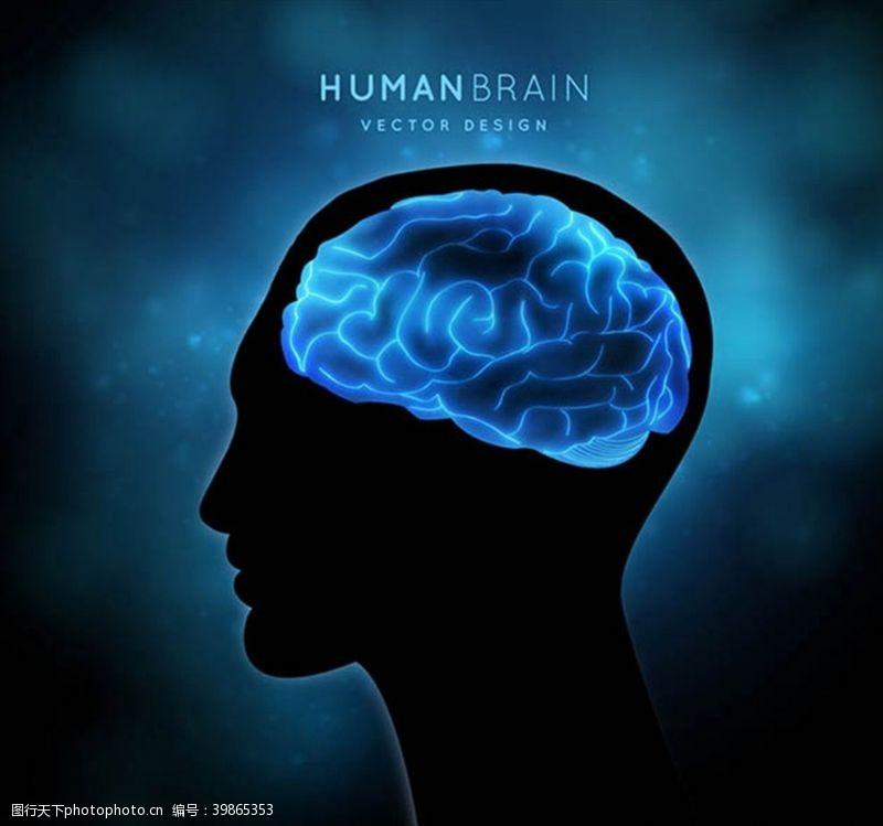 大脑男子头像剪影图片