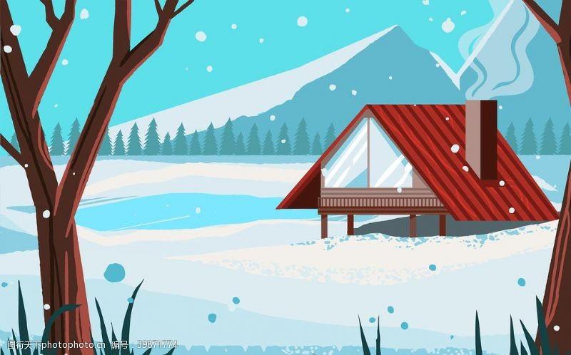 动漫动画冬季北欧红色房子插画图片