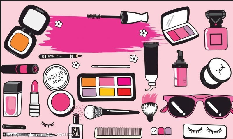 太阳眼镜粉色化妆产品插画图片