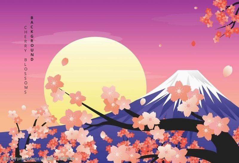 动漫动画富士山樱花插画图片
