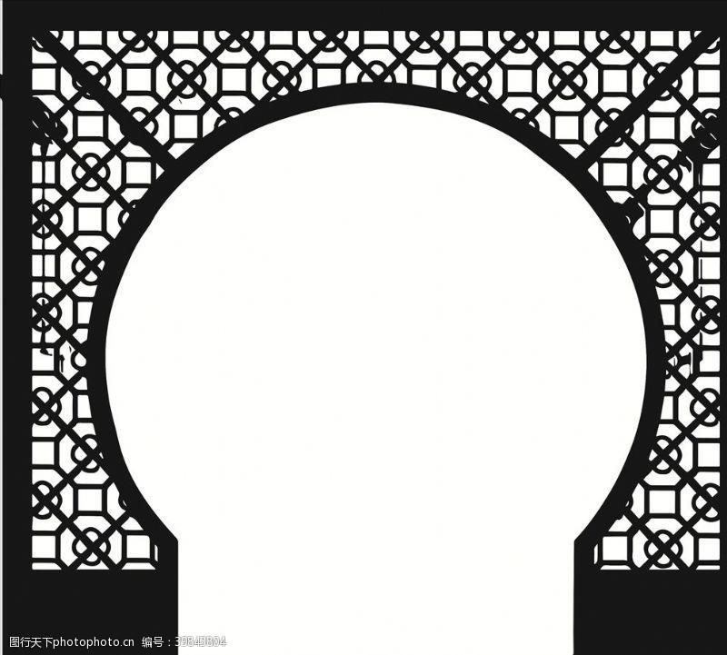 古代窗户中国风边框矢量图片
