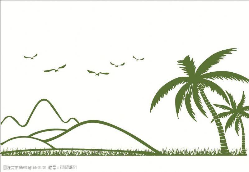 草地海边矢量素材图片