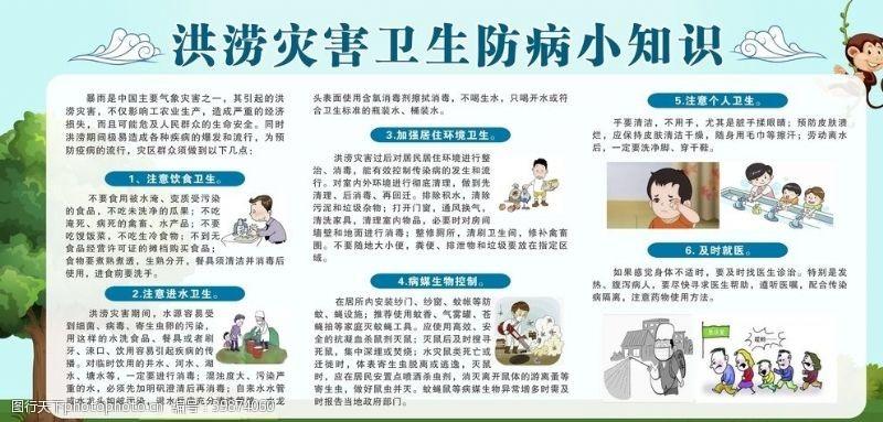 健康教育洪涝灾害小知识宣传栏板报图片