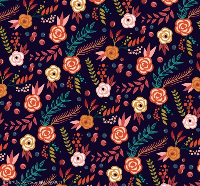 彩绘花卉花卉和叶子背景图片