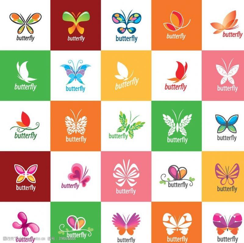 花布蝴蝶图案矢量图片