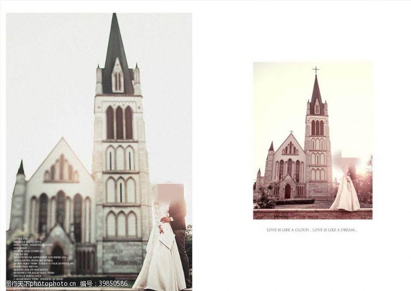 婚庆背景教堂见证爱情相册模板图片