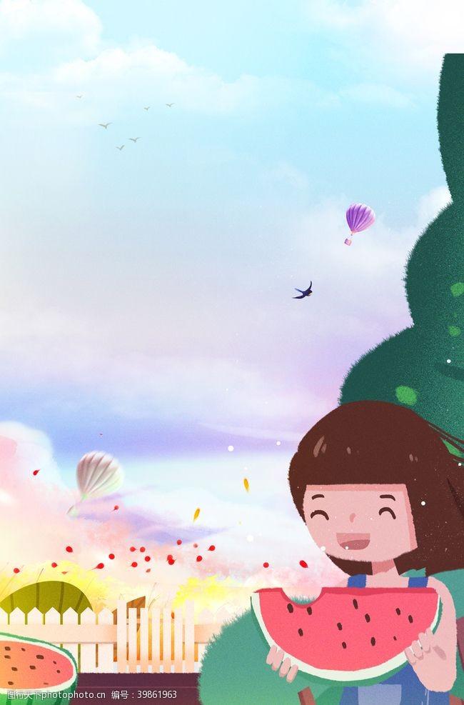 中国传统文化卡通背景夏天图片
