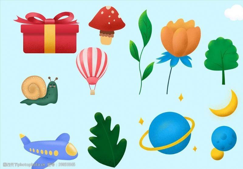 卡通花朵礼物盒热气球图片