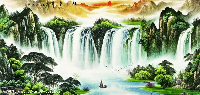 瀑布山水图片