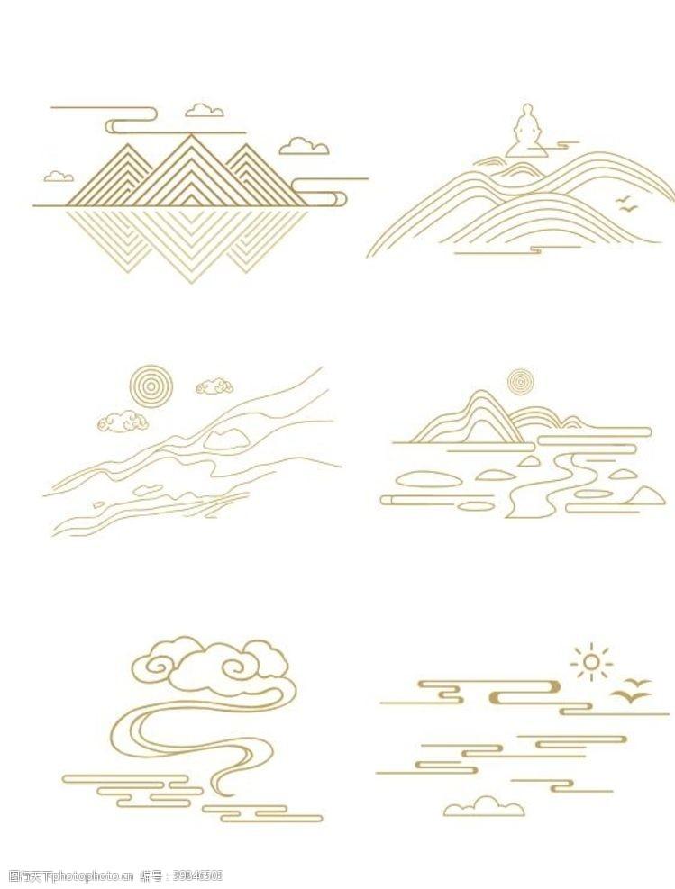 装饰海报矢量中式山纹祥云纹中国风山水图片